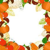 Ram med höstens grönsaker och blad — Stockvektor