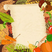 Frame with autumn vegetables and leaves — Vector de stock