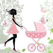 Woman with a stroller — Stock Vector