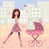 Mujer con un carrito — Vector de stock