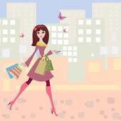 Woman strolls the city shopping — Stock Vector