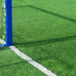 Part football field with goal. - Stock Photo