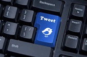 Button keypad with tweet and bird closeup. — Stok fotoğraf
