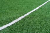 Football field with white stripe. — Stock Photo