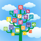 Tree with icons gadgets and computer symbols. — Stock Vector
