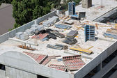 New concrete floor construction on building site — Stock Photo