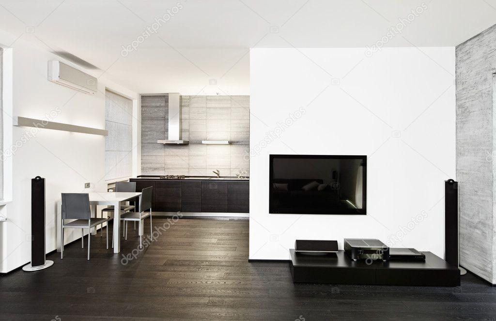 Кухня в стиле современный минимализм и интерьер гостиной — Стоковое фото © Mr...