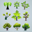 Stock Vector: Green Tree Plants Illustration. Abstract Nature Vector Icons