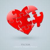 Konceptuální srdce vektorová design. kreativní myšlenka romantické partnerství — Stock vektor