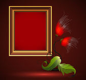 图片框架和朵美丽的花复古设计 — 图库矢量图片