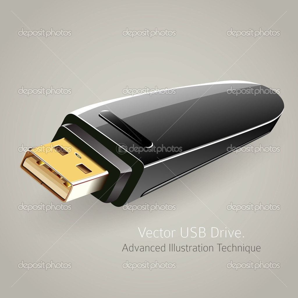 USB flash drive memory storage vector illustration — Stock Vector #11408408