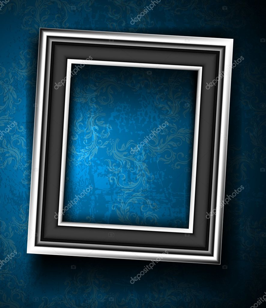 Picture Frame Wallpaper Background. Photo Frame on Grunge Wall — Stock Vector #11777619
