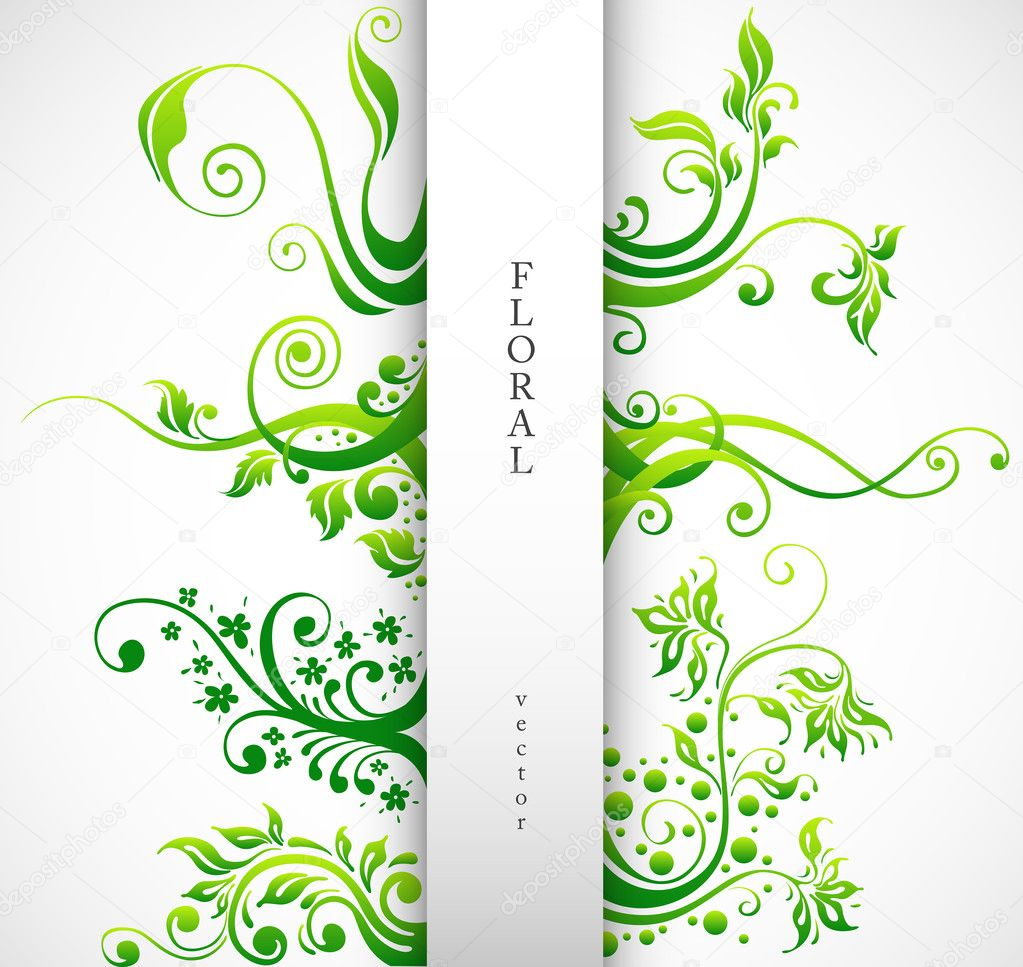 Floral ornament vector design elements green plants with leafs