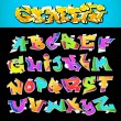 Stock Vector: Graffiti Font Alphabet Vector Art Design