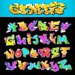 Graffiti Font Alphabet Vector Art Design — Stock Vector
