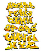 Graffiti Font Alphabet Vector Art Design — ストックベクタ