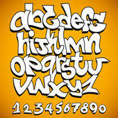 Graffiti Font Alphabet Vector Art Design — Vettoriale Stock