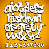 Grafiti yazı tipi alfabe vektör sanat tasarım — Stok Vektör