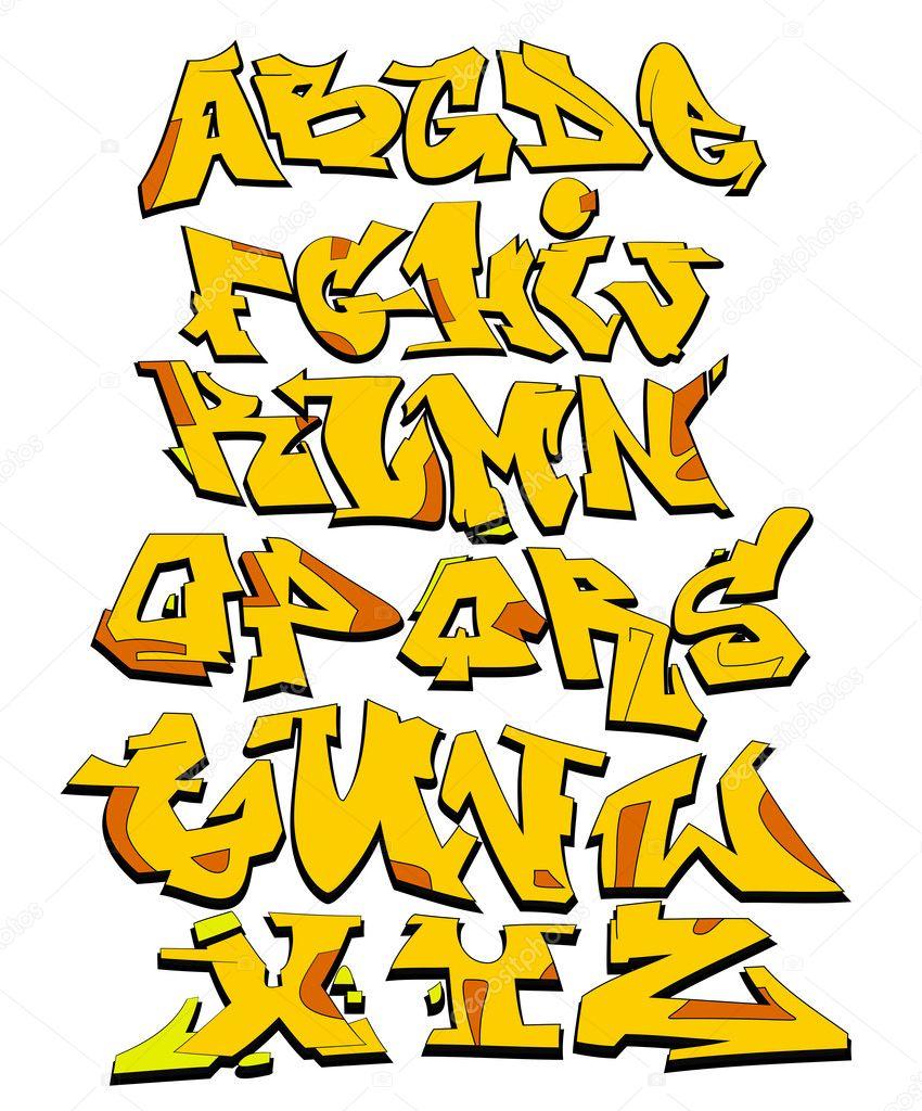 Graffiti font alphabet vektor kunst design stockilllustration