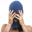 Woman in balaclava hiding face — Stock Photo #12395162