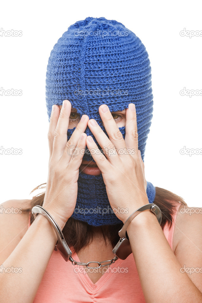 Russian protest movement concept - woman wearing balaclava or mask on head hiding or covering face white isolated — Stock Photo #12395131