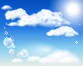 Las nubes y las burbujas — Vector de stock