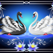 White and black swan and lilies — Stock Vector #10975632