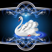 Elegant white swan — Vector de stock