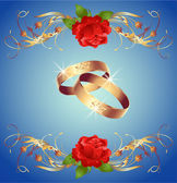 Wedding rings and red roses — Stock Vector