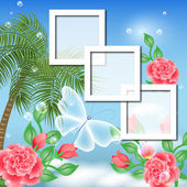 Page layout photo album with palm and roses — Stockvektor