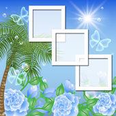 страницы макета фотоальбом с пальмами и розы — Cтоковый вектор