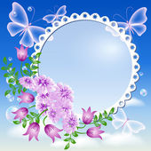 Flowers, butterflies in the sky and photo frame — Stock Vector