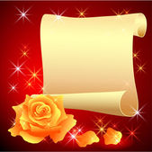 Parchemin roulé et rose — Vecteur