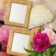 Grunge frames with peony  and paper - Lizenzfreies Foto