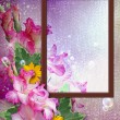 Photo frame with gladiolus - Lizenzfreies Foto