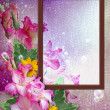 Photo frame with gladiolus — Stock Photo