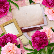 Grunge frames with peony  and paper - Stock Photo