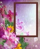 Photo frame with gladiolus — Stock Photo