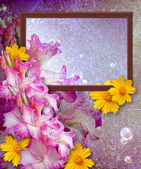 Photo frame with gladiolus — Foto Stock