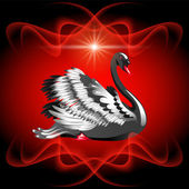 Elegant black swan — Vector de stock