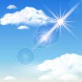 Wolken en zon — Stockvector