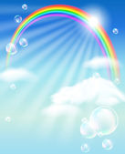 Rainbow, clouds and bubbles — Stock Vector