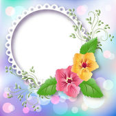 Photo frame and pansies — Stock Vector