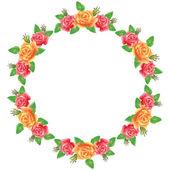 Flores redondas quadro — Vetor de Stock