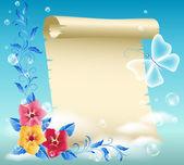羊皮纸和鲜花 — 图库矢量图片