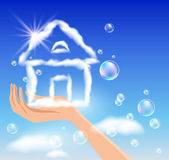 The hand holds a cloud house. — Stock Vector