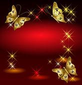 Motýli a hvězdy — Stock vektor