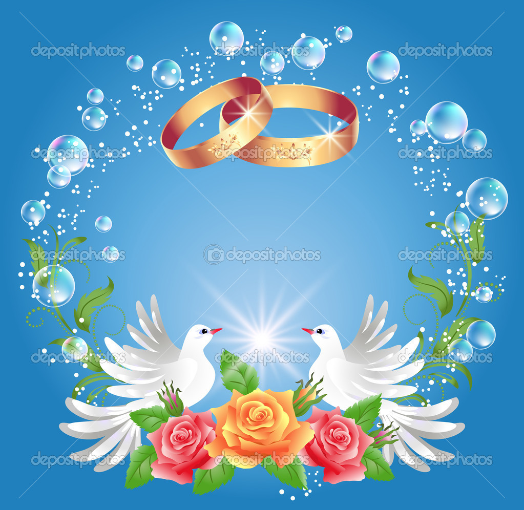 Wedding Doves With Rings Wedding rings and two doves
