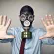 Stock Photo: Mwith gas mask
