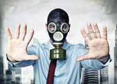 Man with gas mask — Stock Photo